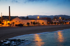 City beach in evening time.  Badalona Royalty Free Stock Images