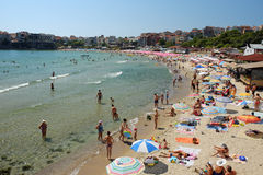 City beach on July 19, 2015 in town of Sozopol, Bulgaria Stock Photo