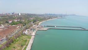 City Beach. Mariupol Ukraine. Aerial view stock footage