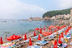 City beach in Petrovac, Montenegro stock photo