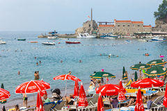 City beach in Petrovac in Montenegro royalty free stock photo