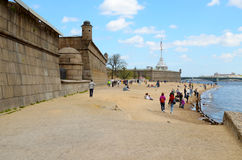 City beach by the river Neva. royalty free stock images