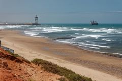 Central beach in Sidi Ifni, Morocco royalty free stock photography