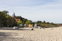 City beach in the small town of Sopot. Poland.  stock image