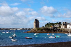 City beach and Solidor Tower in Saint-Malo. Province of Brittany, France Royalty Free Stock Images