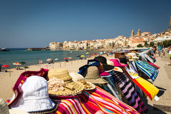 city beach and the street market in Cefalu Stock Photo