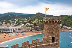 City and beach view from castle, Tossa de Mar Royalty Free Stock Photo