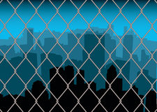 City behind fence Stock Images