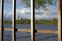 City behind the fence royalty free stock photos