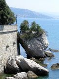 City behind sea. View from the Miramare castle in direction of Trieste, Italy Royalty Free Stock Photo