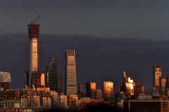 The city of Beijing under the sunset royalty free stock image