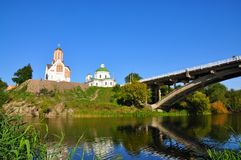 The city of Belaya Tserkov,Ukraine. Catholic Church of St. John the Baptist and the restored Church of Gegorgiâ victorious Royalty Free Stock Photos