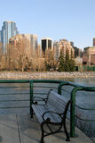 City bench. A view of downtown calgary, alberta, canada Royalty Free Stock Images