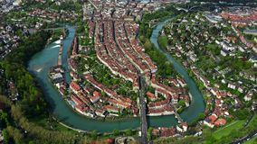 City of Bern and the River Aare, picturesque aerial view. Switzerland. City of Bern and the River Aare, aerial view royalty free stock photography