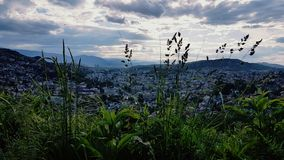 City betwin mountains stock images