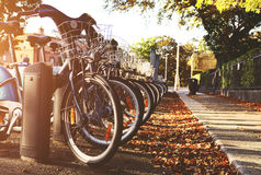 City bicycle with basket. Beautiful and convinient bicycles with basket in Dublin Stock Images