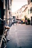 City bicycle handlebar, bike over blurred background Stock Photo