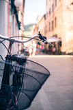 City bicycle handlebar, bike over blurred beautiful bokeh backgr Stock Photography