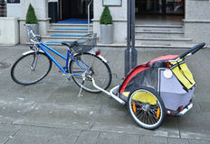 City Bicycle Meshed With The Pram Royalty Free Stock Image