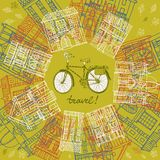 City bicycle and old houses. Vector hand drawn illustration with old houses and city bicycle Royalty Free Stock Image