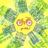 City bicycle and old houses. Vector hand drawn illustration with old houses and city bicycle Stock Photos