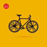 City bicycle vector icon on yellow background Stock Photos