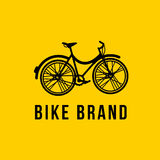 City bicycle vector icon on yellow backgrownd Stock Image