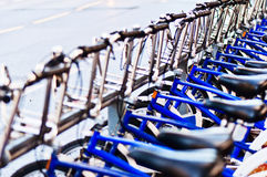 City bicycles. On street Oslo Norway Royalty Free Stock Images