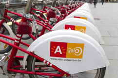 City bicycles. With 1000 bicycles and 80 stations, Velo is among largest bike sharing systems worldwide Royalty Free Stock Photo