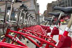City bicycles. With 1000 bicycles and 80 stations, Velo is among largest bike sharing systems worldwide Royalty Free Stock Image