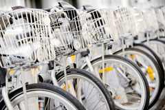 City bicycles with front basket Royalty Free Stock Photos