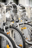City bicycles with front basket Stock Photos