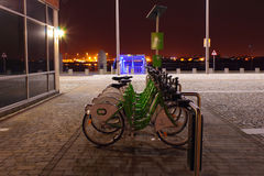 City bicycles. Bicycles on Liverpool pierhead ,situated by the Mersey ferry terminal Royalty Free Stock Images