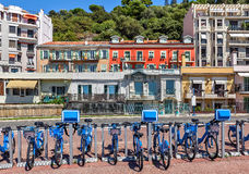 City bicycles in Nice, France. Royalty Free Stock Image