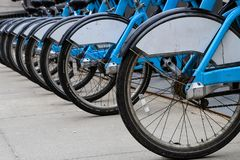 City bicycles in a row stock photography