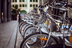 City bicycles on street parking. Image for background Stock Image