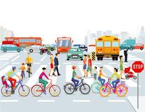 City bicyclists and pedestrians. Colorful illustration of bicycle riders and pedestrians crossing a busy city street on a marked walkway Royalty Free Stock Photography
