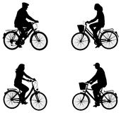 City bicyclists silhouettes vector illustration