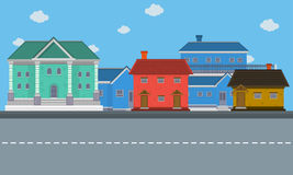 City with big house landscape. Vector illustration Royalty Free Stock Photography