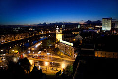 City by bight. Vilnius city panorama by night Royalty Free Stock Images