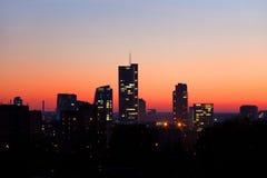 City by bight. Vilnius city panorama by night Stock Photos