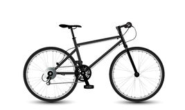 City bike. Black bicycle on the white background Stock Photos