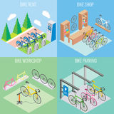 City bike concept vector in isometric style. Illustration in flat 3d design. Bicycle parking, repair shop and bike for. Rent Stock Photos