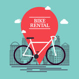 City bike hire rental tours for tourists and city visitors. Vect Stock Images