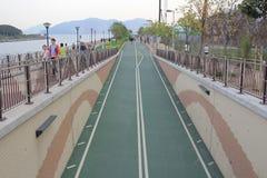 City bike lane at tseung kwan O Stock Photo