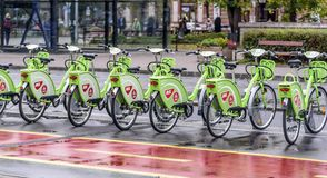 City bike rental in Budapest street. Royalty Free Stock Images