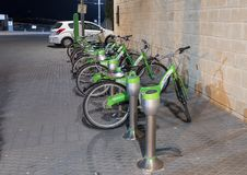City bike rental on the promenade of old city Yafo in Tel Aviv-Yafo in Israel. Tel Aviv-Yafo, Israel, December 01, 2017 : City bike rental on the promenade of Royalty Free Stock Image