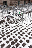 City bike in snow Royalty Free Stock Photos