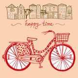City bike. Stylish hand drawn city bike with old town background Stock Photography