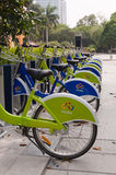 City bike, Zhuhai China. Zhuhai, China - October 17, 2012: DEMO points for a public bicycle leasing system are to open in October and the first phase in Gongbei Royalty Free Stock Images